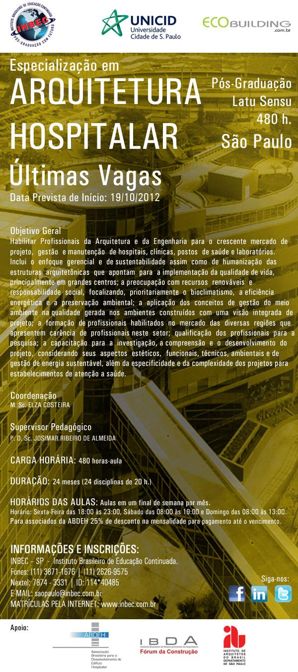 Especialização em Arquitetura Hospitalar
